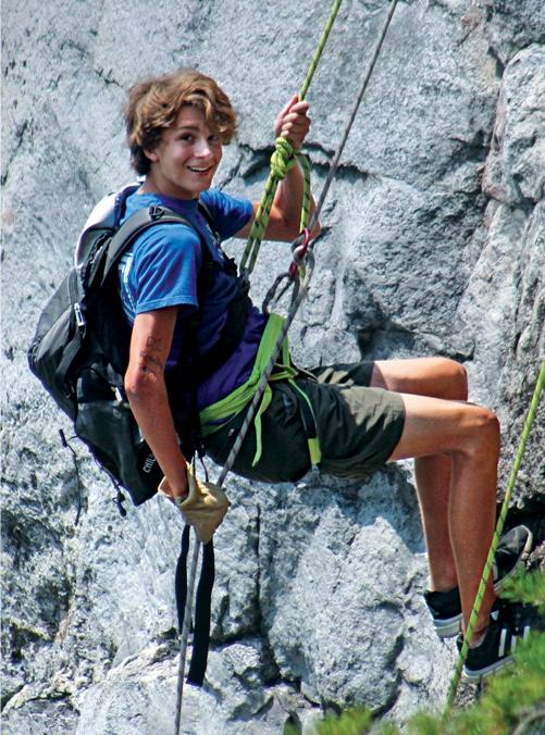 Girl rock-climbing